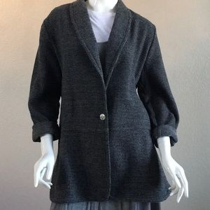 Gray One-Button Front Duster Jacket
